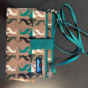 Kavu crossbody with deer pattern.